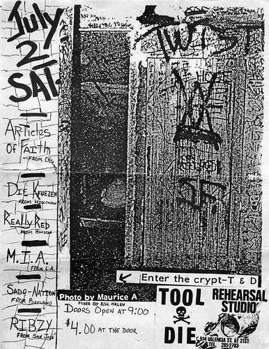 Articles Of Faith-Die Kreuzen-M.I.A.-Really Red-Ribzy-Sado Nation @ Rehearsal Studio San Francisco CA 7-2-83