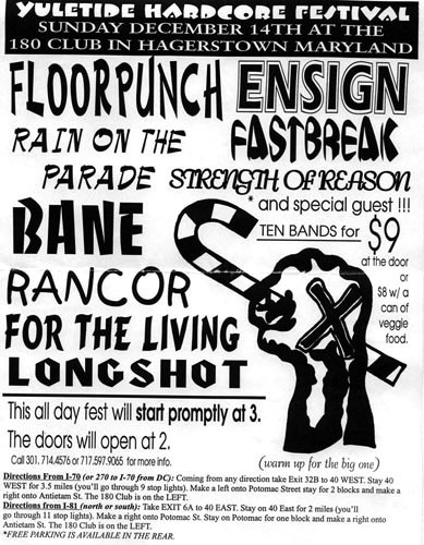Fastbreak-Floorpunch-Ensign-Bane-For The Living-Longshot-Rain On The Parade-Rancor-Strength Of Reason @ 180 Club Hagerstown MD 12-14-97