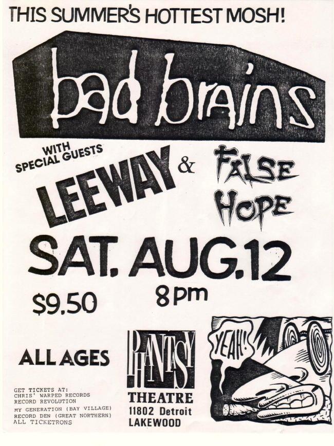 Bad Brains-Leeway-False Hope @ Phantasy Theatre Lakewood OH 8-12-89