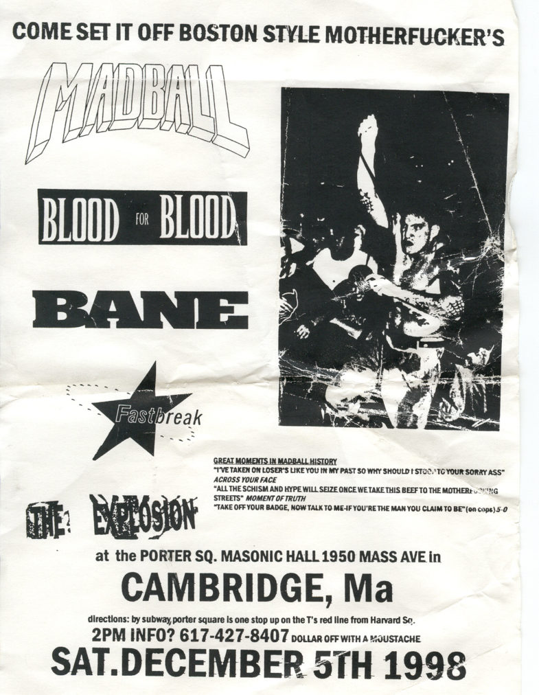 Bane-Blood For Blood-Fastbreak-Madball-The Explosion @ Porter Square Masonic Hall Cambridge MA 12-5-98