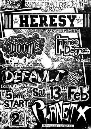 Hersey-Doom-Intense Degree-Default @ Planet X Liverpool England 2-13-88