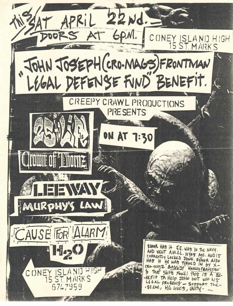 Cause For Alarm-Leeway-Crown Of Thornz-Murphy's Law-h2o-25 Ta Life @ Coney Island High New York City NY 4-22-95