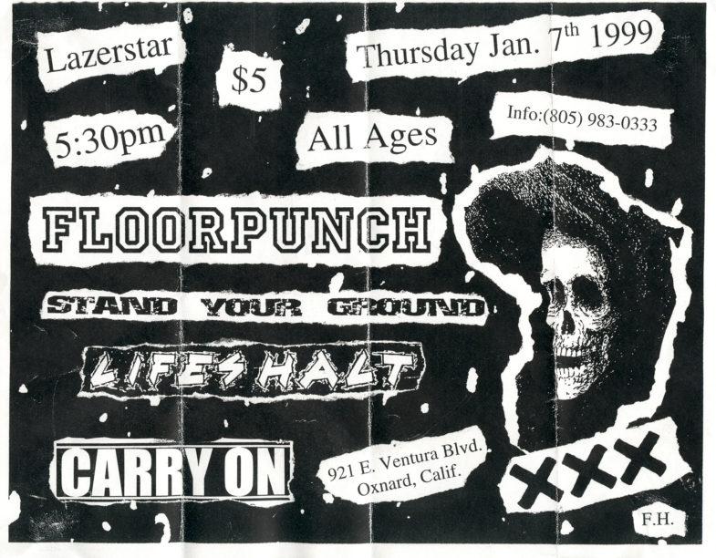 Carry On-Floorpunch-Stand Your Ground-Life's Halt @ Lazerstar Oxnard CA 1-7-99