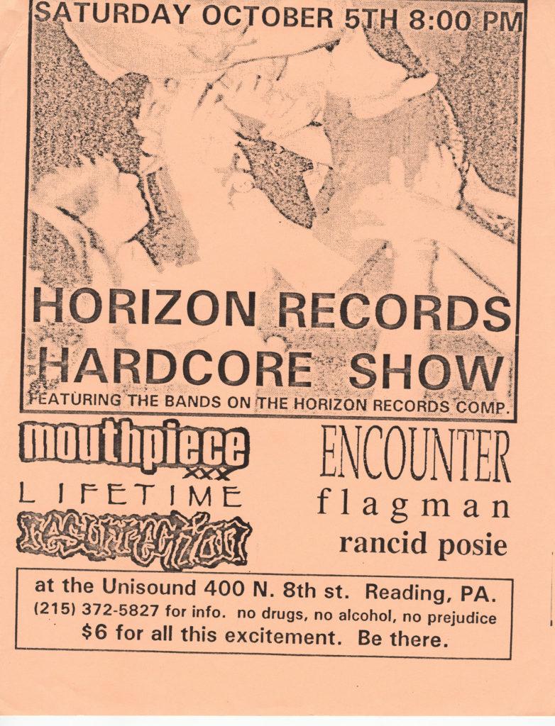 Mouthpiece-Lifetime-Ressurection-Encounter-Flagman-Rancid Posie @ Unisound Reading PA 10-5-91