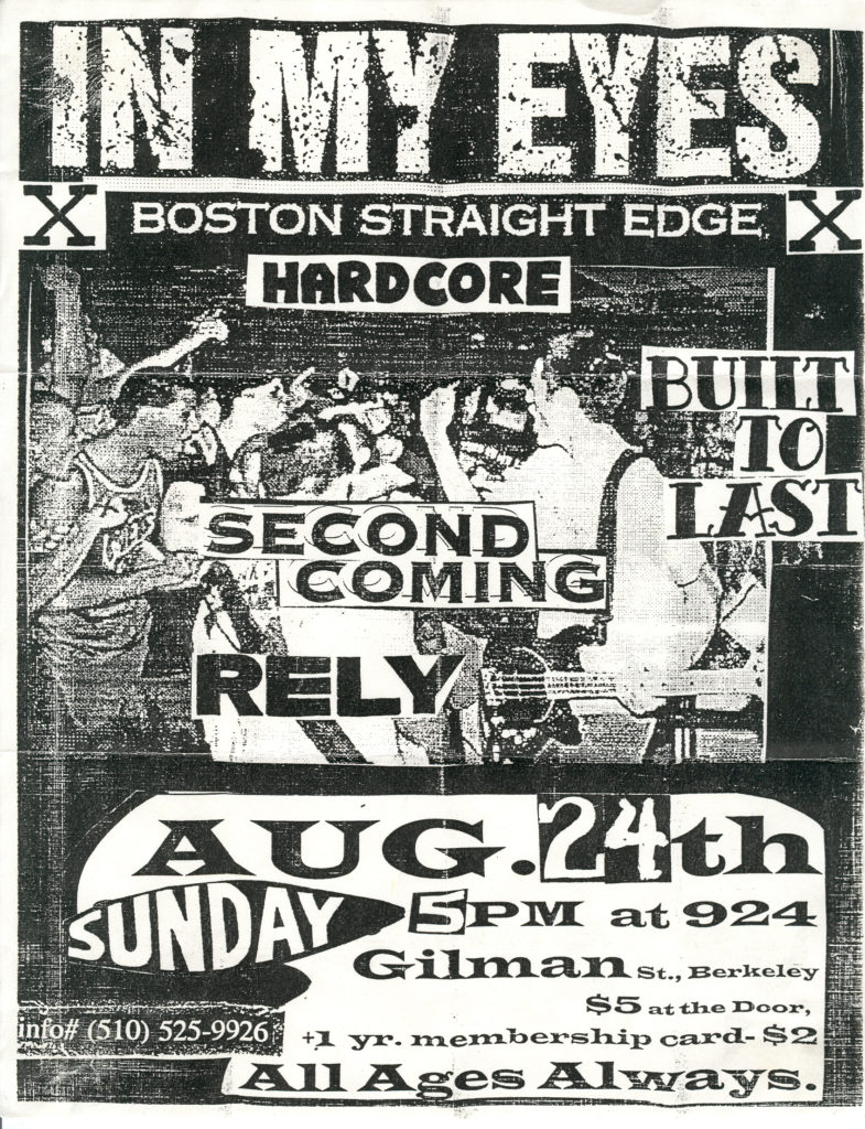 In My Eyes-Built To Last-Rely-Second Coming @ Gilman St. Berkeley CA 8-24-97