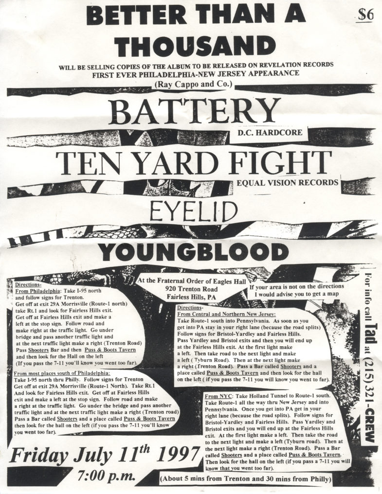Ten Yard Fight-Better Than A Thousand-Battery-Eyelid-Youngblood @ Fraternal Order Of Eagles Hall Fairless Hills PA 7-11-97