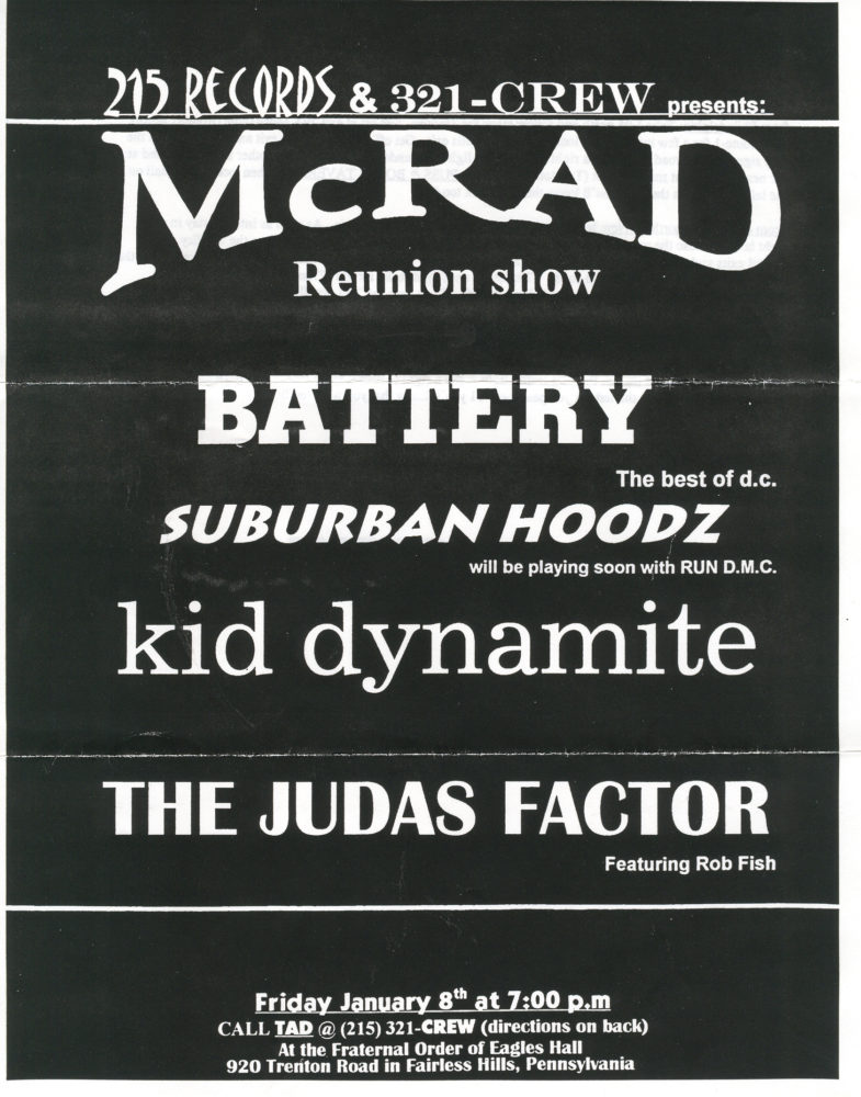 McRad-The Judas Factor-Battery-Kid Dynamite-Suburban Hoodz @ Fraternal Order Of Eagles Hall Fairless Hills PA 1-8-99