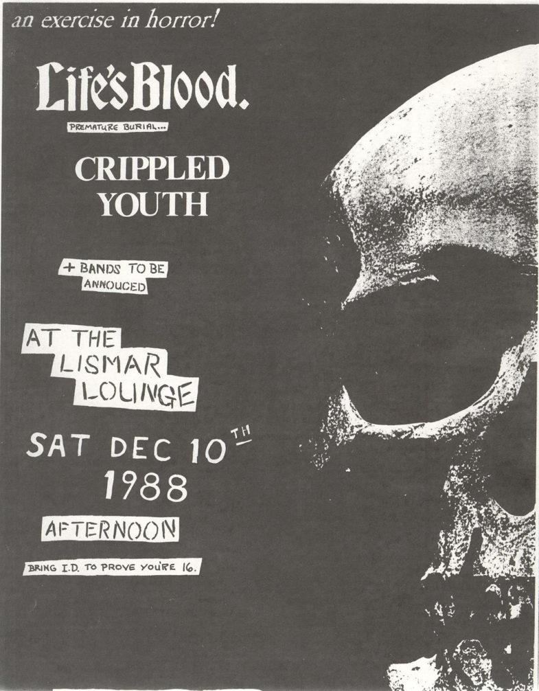 Life's Blood-Crippled Youth @ The Lismar Lounge New York City NY 12-10-88
