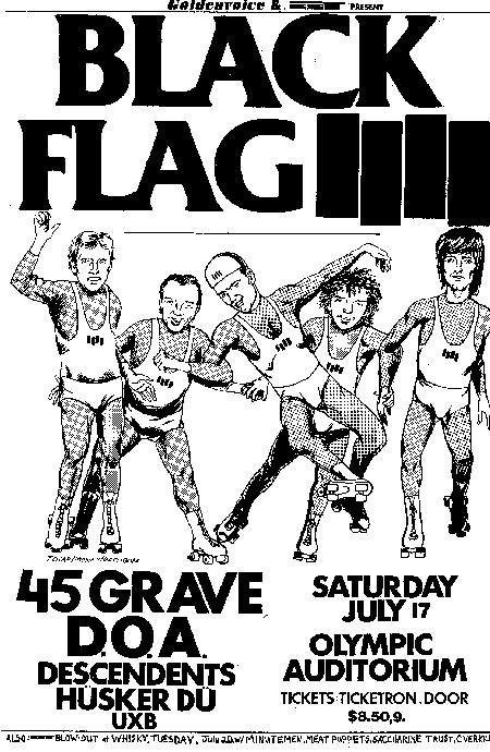 Black Flag-45 Grave-DOA-Descendents-Husker Du-UXB @ Olympic Auditorium Los Angeles CA 7-17-82
