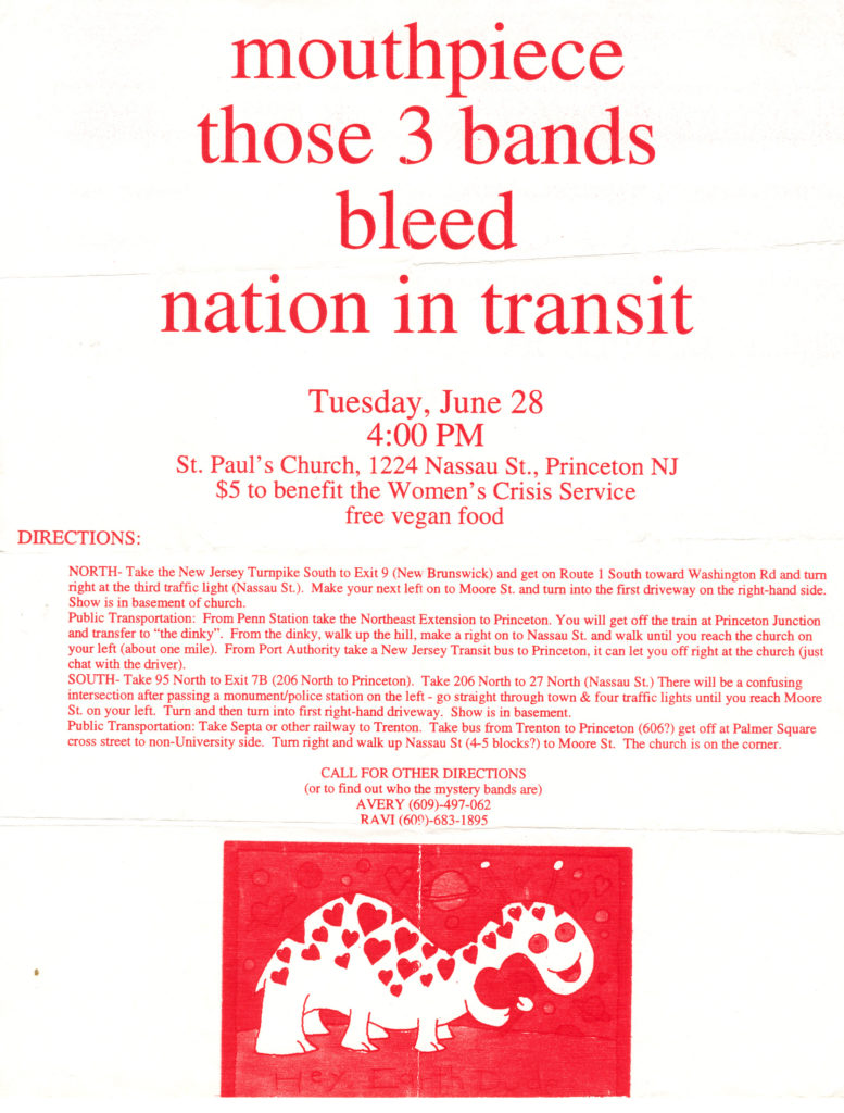 Mouthpiece-Those 3 Bands-Bleed-Nation In Transit @ St Paul's Church Princeton NJ 6-28-94