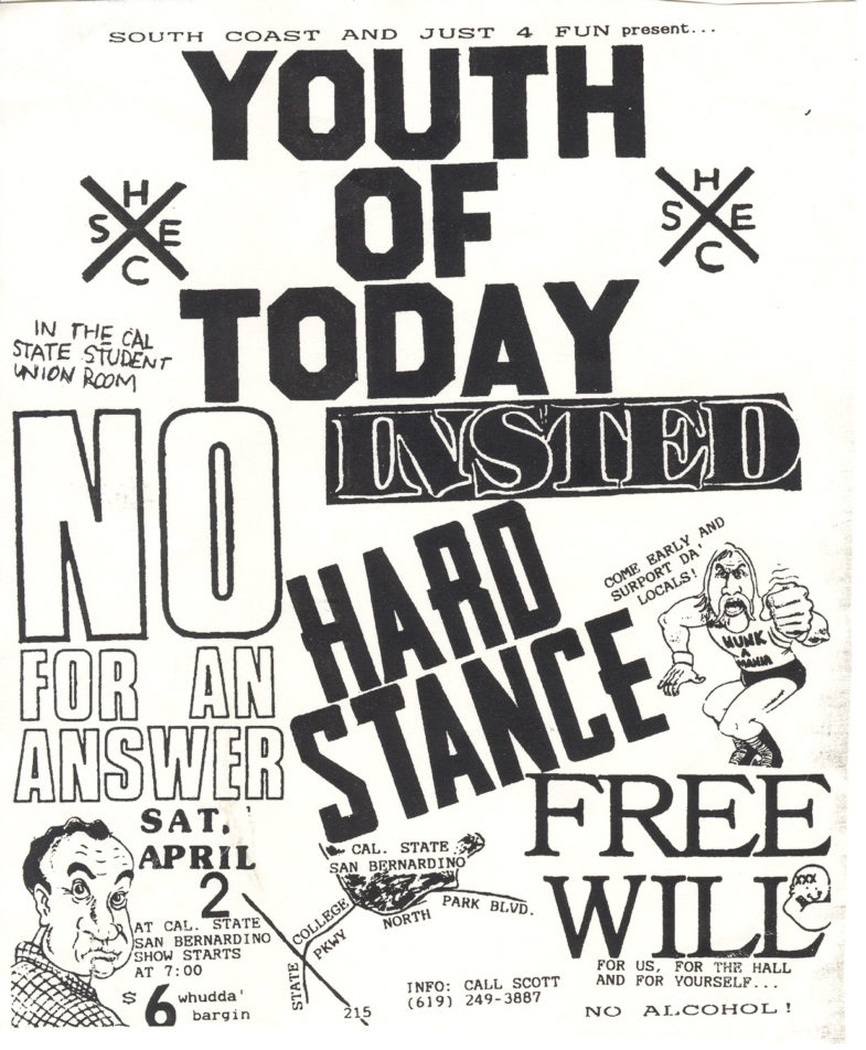 Youth Of Today-Insted-No For An Answer-Hard Stance-Free Will @ Cal State Student Union Room San Bernardino CA 4-2-88