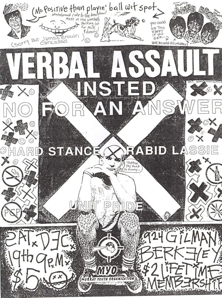 Verbal Assault-Insted-No For An Answer-Rabid Lassie-Hard Stance-Unit Pride @ Gilman St. Berkeley CA 12-19-87