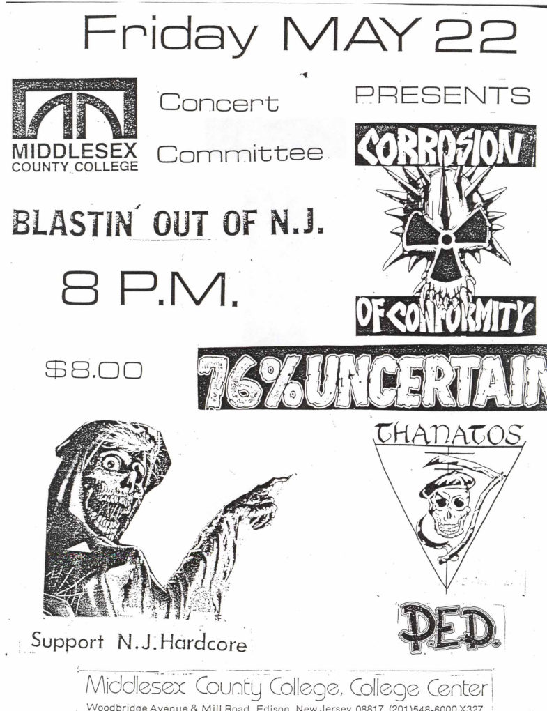 Corrosion Of Conformity-76% Uncertain-Thanatos-Post Ejaculation Depression @ Middlesex County College Edison NJ 5-22-87