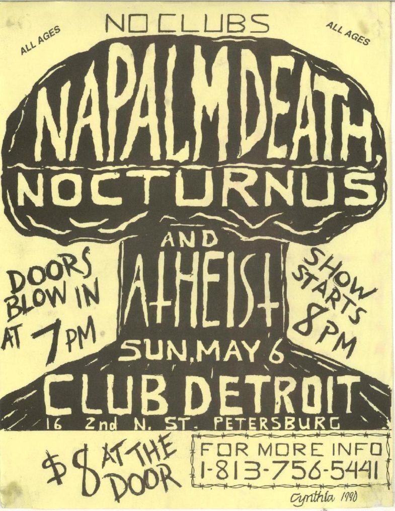 Napalm Death-Atheist-Nocturnus @ Club Detroit St. Petersburg FL 5-6-90