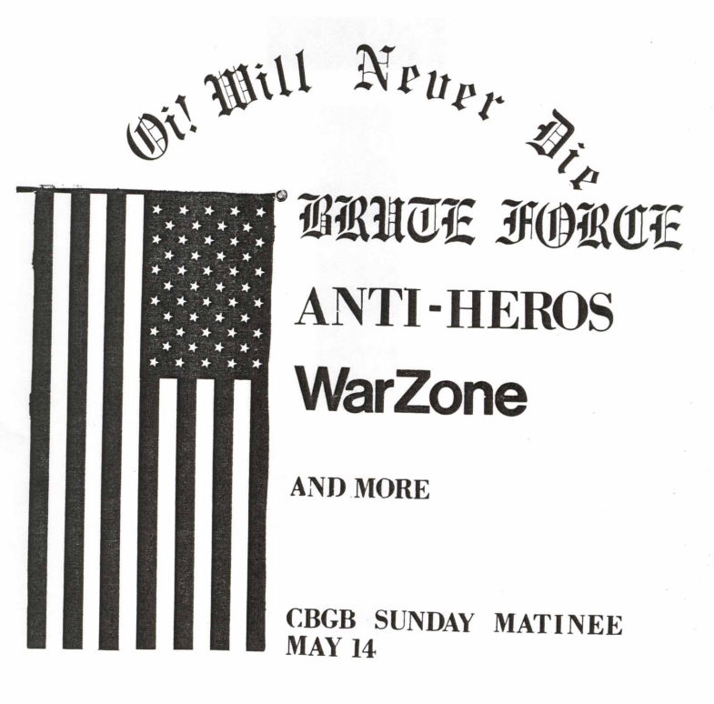 Anti Heroes-Brute Force-War Zone @ CBGB New York City NY 5-14-89