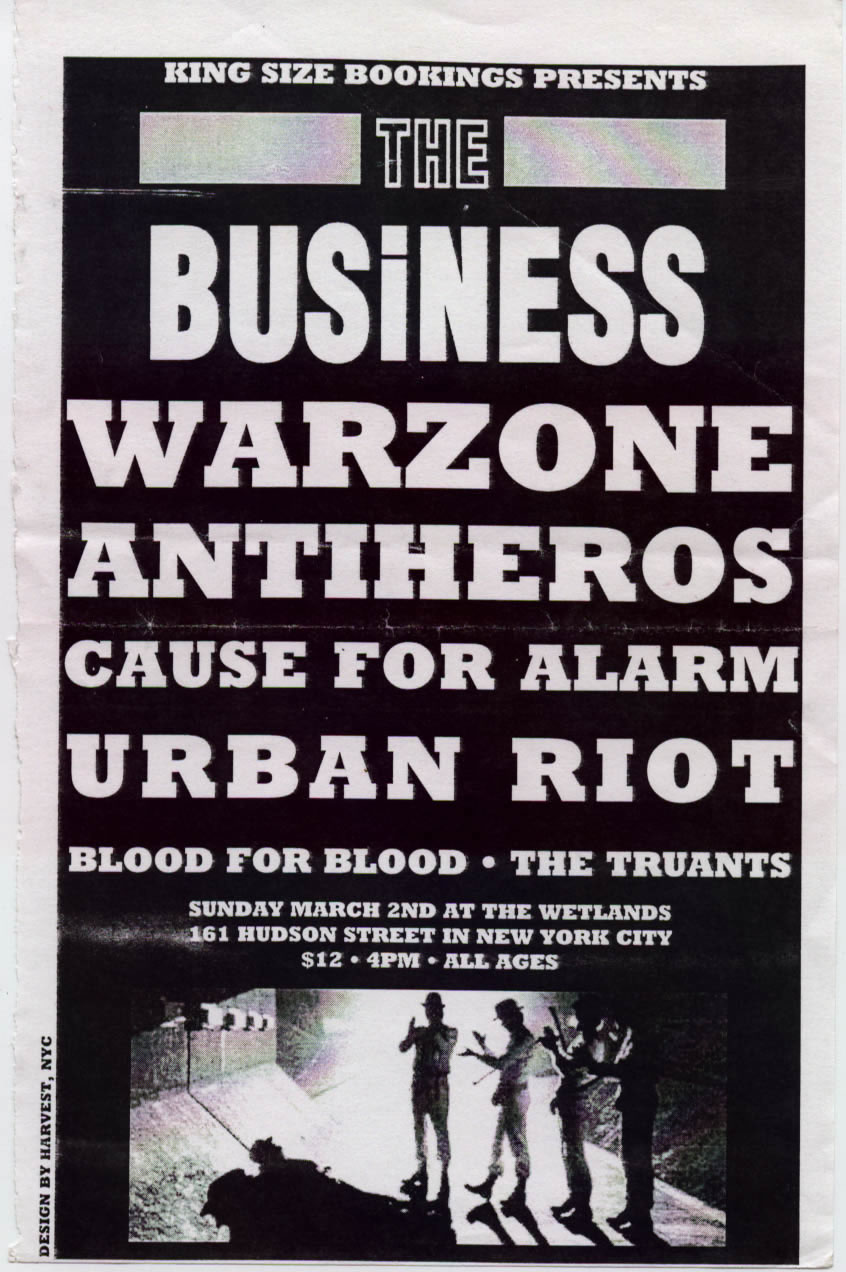 The Business-War Zone-Blanks 77-Cause For Alarm-Urban Riot-Blood For Blood-The Truants @ Wetlands New York City NY 3-2-97