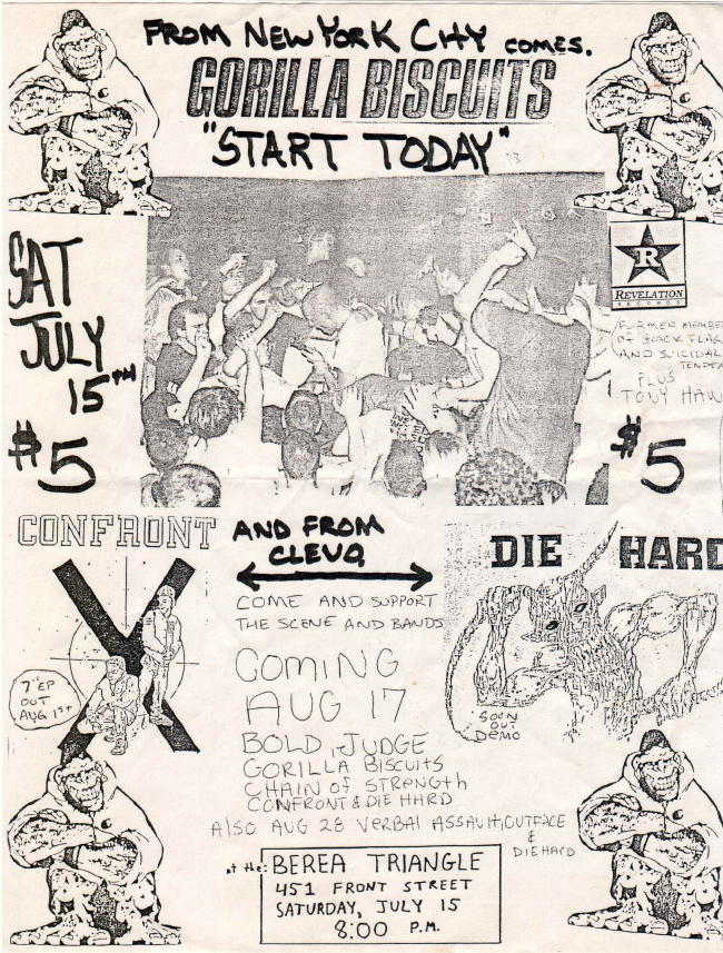 Gorilla Biscuits-Die Hard-Confront @ Berea Triangle Cleveland OH 7-15-89
