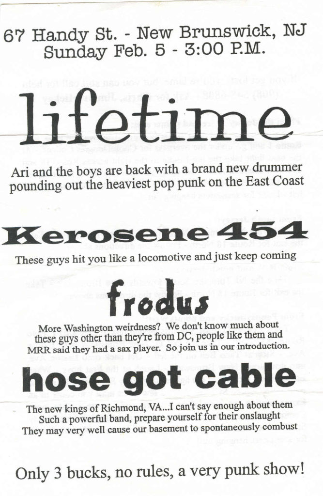 Lifetime-Kerosene 454-Frodus-Hose Got Cable @ Handy St. New Brunswick NJ 2-5-95