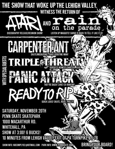 Rain On The Parade-Atari-Carpenter Ant-Triple Threat-Panic Attack-Ready To Rip @ Penn Skate Skatepark Whitehall PA 11-20-04
