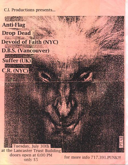 Anti Flag-Devoid Of Faith-DropDead-D.B.S.-Suffer-C.R. @ Lancaster Trust Building Lancaster PA 7-30-96