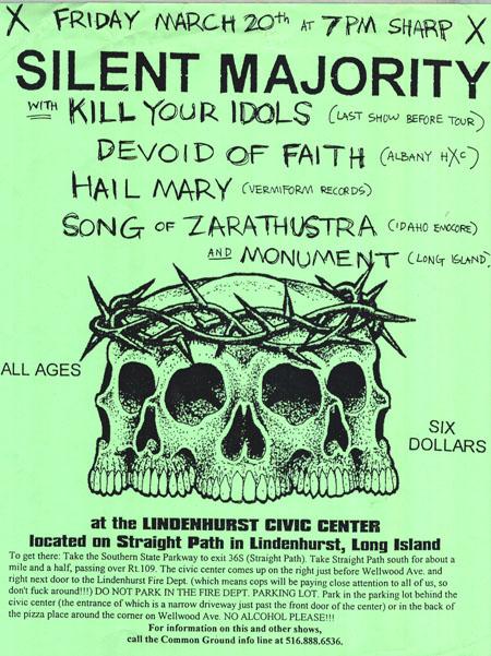 Silent Majority-Kill Your Idols-Hail Mary-Devoid Of Faith-Song Of Zarathustra-Monument @ Lindenhurst Civic Center Long Island NY 3-20-97
