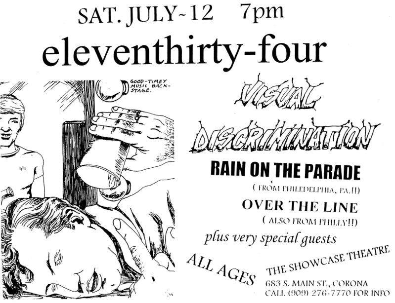 1134-Visual Discrimination-Rain On The Parade-Over The Line @ Showcase Theatre Corona CA 7-12-97