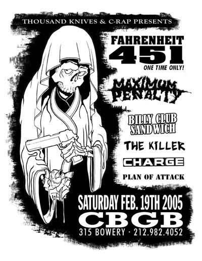 Fahrenheit 451-Billy Club Sandwich-Maximum Penalty-The Killer-Charge-Plan Of Attack @ CBGB New York City NY 2-19-05