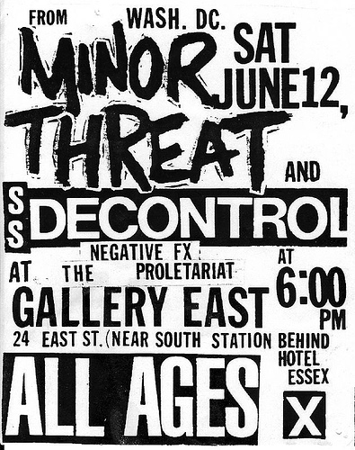Minor Threat-Society System DeControl-Negative FX-The Proletariat @ Gallery East Boston MA 6-12-83
