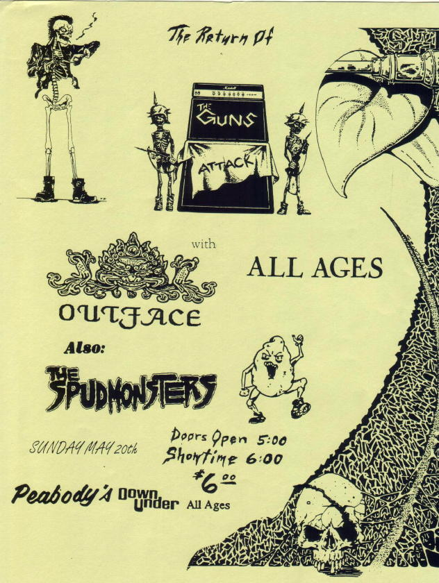 The Guns-Outface-The Spudmonsters @ Peabody's Cleveland OH 5-20-90