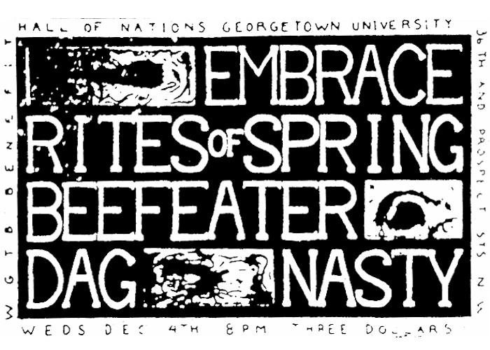 Embrace-Rites Of Spring-Dag Nasty-Beefeater @ Hall Of Nations Washington DC 12-4-85