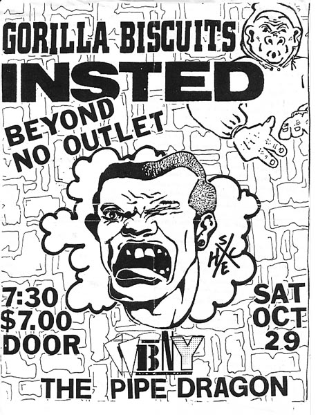 Gorilla Biscuits-Insted-Beyond-No Outlet @ The Pipe Dragon Buffalo NY 10-29-88