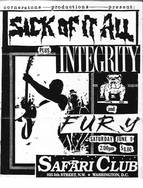 Sick Of It All-Integrity-Fury @ Safari Club Washington DC 6-9-90