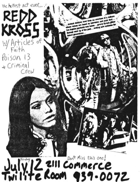 Articles Of Faith-Redd Kross-Poison 13-Criminal Crew @ Twilite Room Dallas TX 7-12-85