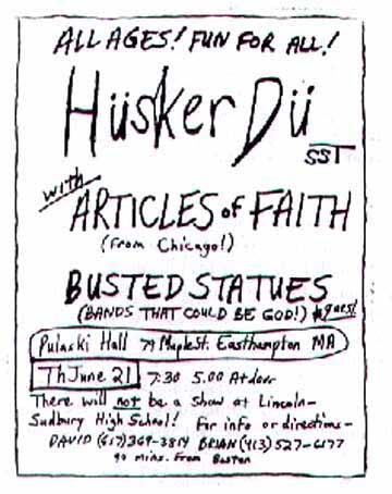 Husker Du-Articles Of Faith-Busted Statues @ Pulaski Hall Easthampton MA 6-21-84