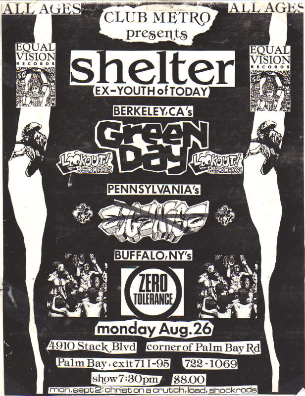 Shelter-Green Day-Edgewise-Zero Tolerance @ Club Metro Palm Bay FL 8-26-91
