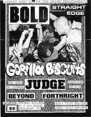 Bold-Gorilla Biscuits-Judge-Beyond-Forthright @ Goodnan Building Bethlehem PA 4-23-88