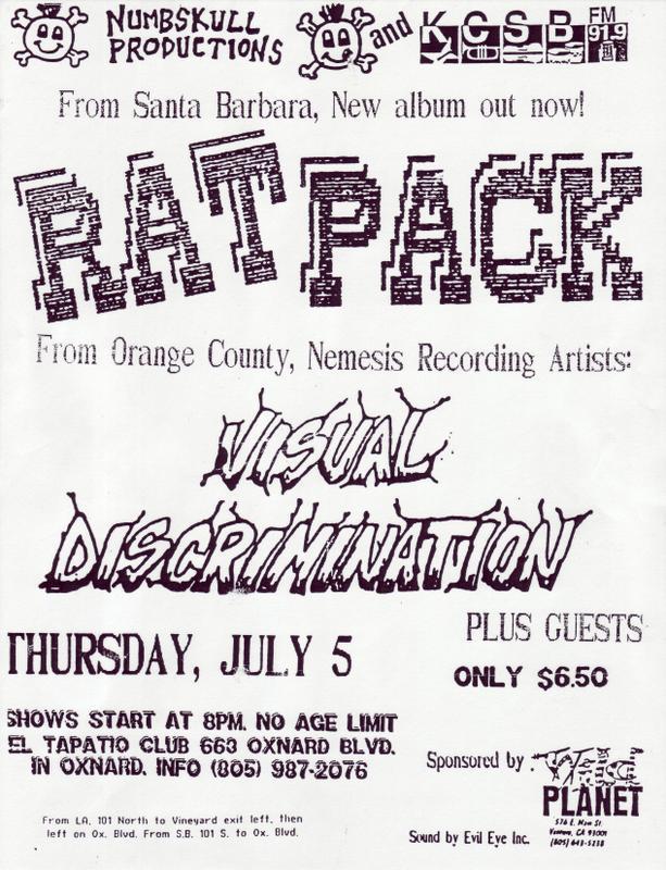 Rat Pack-Visual Discrimination @ El Tapatio Club Oxnard CA 7-5-90