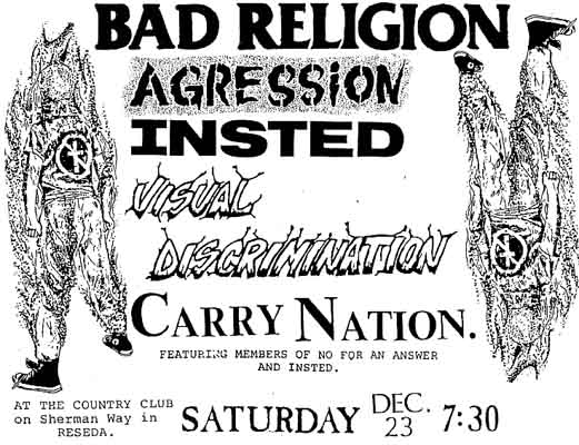 Bad Religion-Carry Nation-Insted-Aggression-Visual Discrimination @ The Country Club Reseda CA 12-23-89