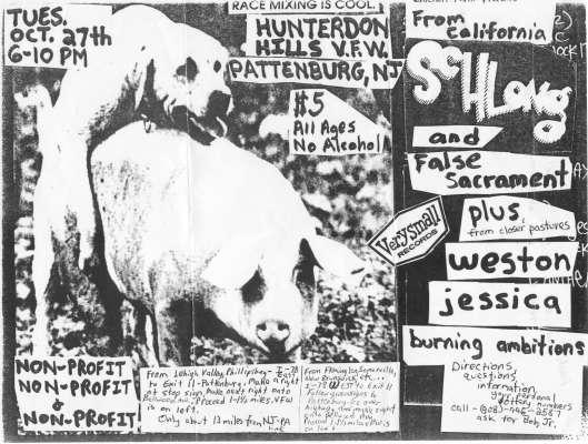 Weston-Schlong-False Sacrament-Jessica-Burning Ambition @ Hunterdon Hills VFW Pattenburg NJ 10-27-92