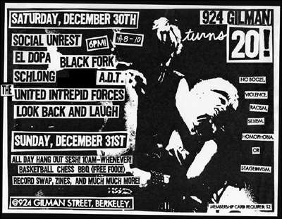 Social Unrest-Black Fork-El Dopa-Schlong-A.D.T.-The United Intrepid Forces-Look Back & Laugh @ Gilman St. Berkeley CA 12-30-06