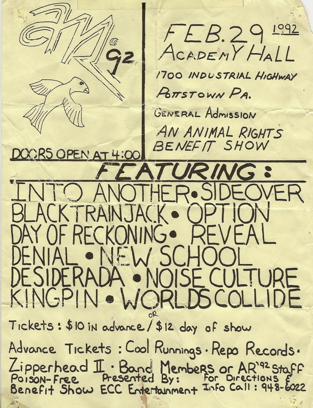 All Day Show @ Academy Hall Pottstown PA 2-29-92