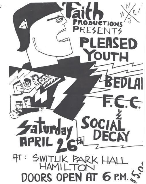 Pleased Youth-F.C.C.-Bedlam-Social Decay @ Switlik Park Hall Hamilton NJ 4-26-86
