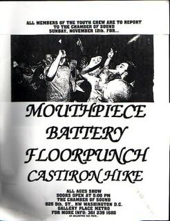 Mouthpiece-Battery-Floorpunch-Cast Iron Hike @ Chamber Of Sound Washington DC 11-12-95