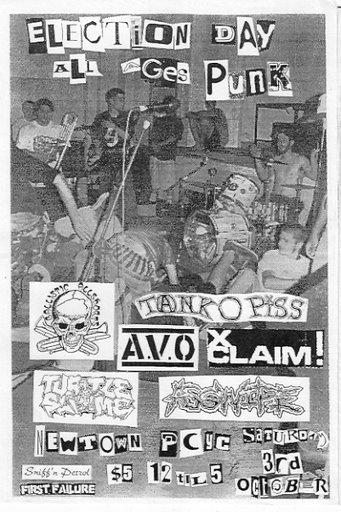 Tank O Piss-AVO-XClaim!-Ass Wipe @ Newtown PWYC Newtown Australia 10-3-97