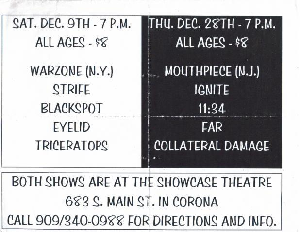 Two shows At Showcase Theatre Corona CA 1995