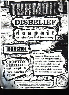Despair-Turmoil-Disbelief-Longshot @ Crofton Firehall Crofton MD 9-9-95