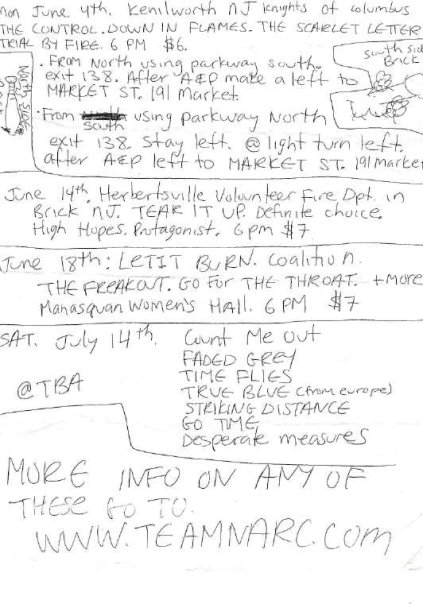 NJHC Shows Summer Of 2001