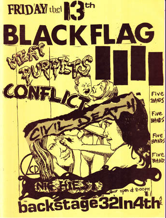 Black Flag-Meat Puppets-Conflict-Civil Death-Nig Heist @ Backstage Tucson AZ 5-13-83