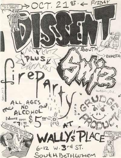 Dissent-Fire Party-Swiz @ Wally's Place Bethlehem PA 10-21-88