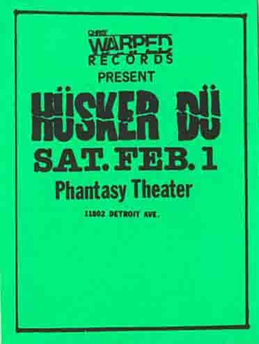 Husker Du @ Phantasy Theater Lakewood OH 2-1-86